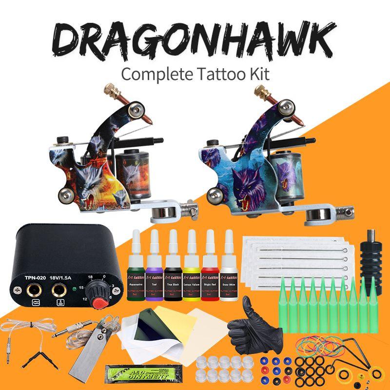 Complete Beginner Tattoo Kit Machine Guns Inks Needles Tattoo Power Supply