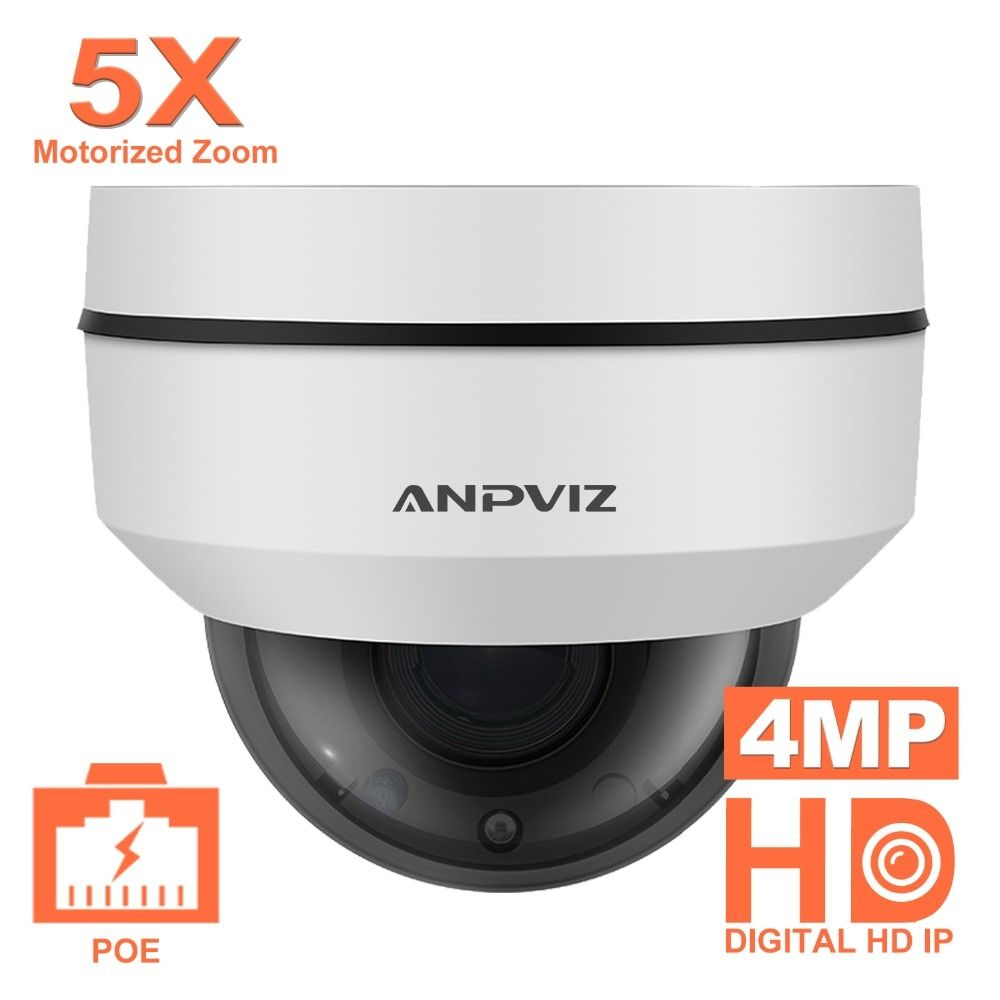 Anpviz 2.5 Inch Mini Dome PTZ Camera Onvif 4MP outdoor Water-Proof Motorized 5X Zoom 2.7-13.5mm Video Surveillance PoE IP Camera