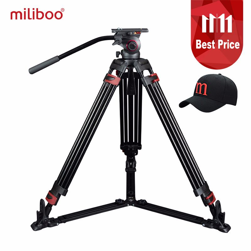 miliboo Portable tripod MTT609B Carbon fiber lightweight professional video camcorder Tripod VS manfrotto tripod/Heavy duty 15KG