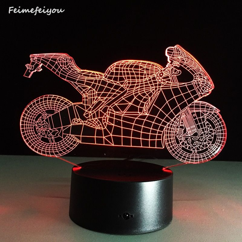 Dimmable Art Deco Crystal LED <font><b>Lamps</b></font> Children Bedroom Sleep Light 3d Motorcycle Table <font><b>Lamp</b></font> NightLight Touch Switch Bedroom Gift
