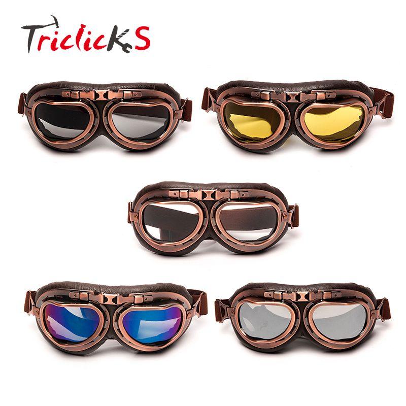 Triclicks шлем стимпанк Медь Очки мотоциклов Flying очки Винтаж пилота байкер очки Защитное Снаряжение Очки