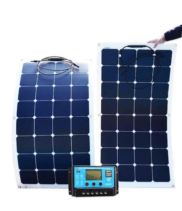 Solar panel monocrystalline 200W foldable flexible panels 2 pcs 18V 100w with 20A Controller 12V or 24V 200 Watt 100 Watt system