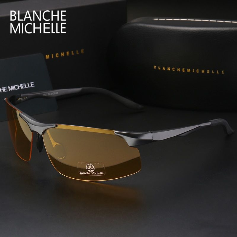 2017 Aluminum Magnesium Men Sunglasses Polarized Sports <font><b>Driving</b></font> Night Vision Goggles Sunglass Fishing UV400 Rimless Sun Glasses