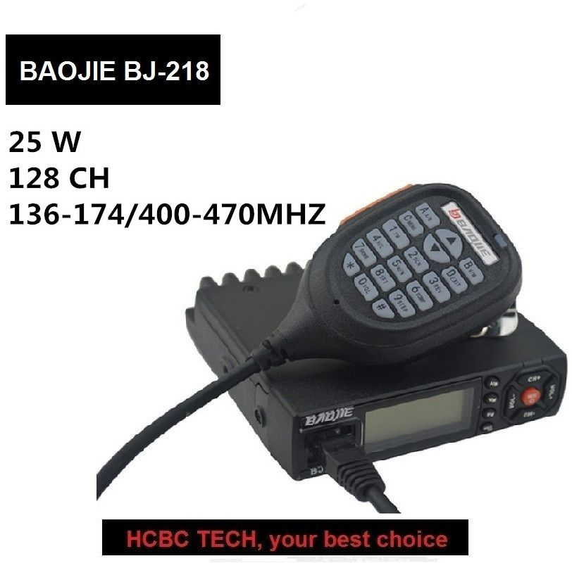 BJ-218 Mini Mobile Radio 136-174&400-470MHz 25W 256CH Dual Band Two Way Transceiver Car Walkie Talkie CB Radio Outdoor Equip