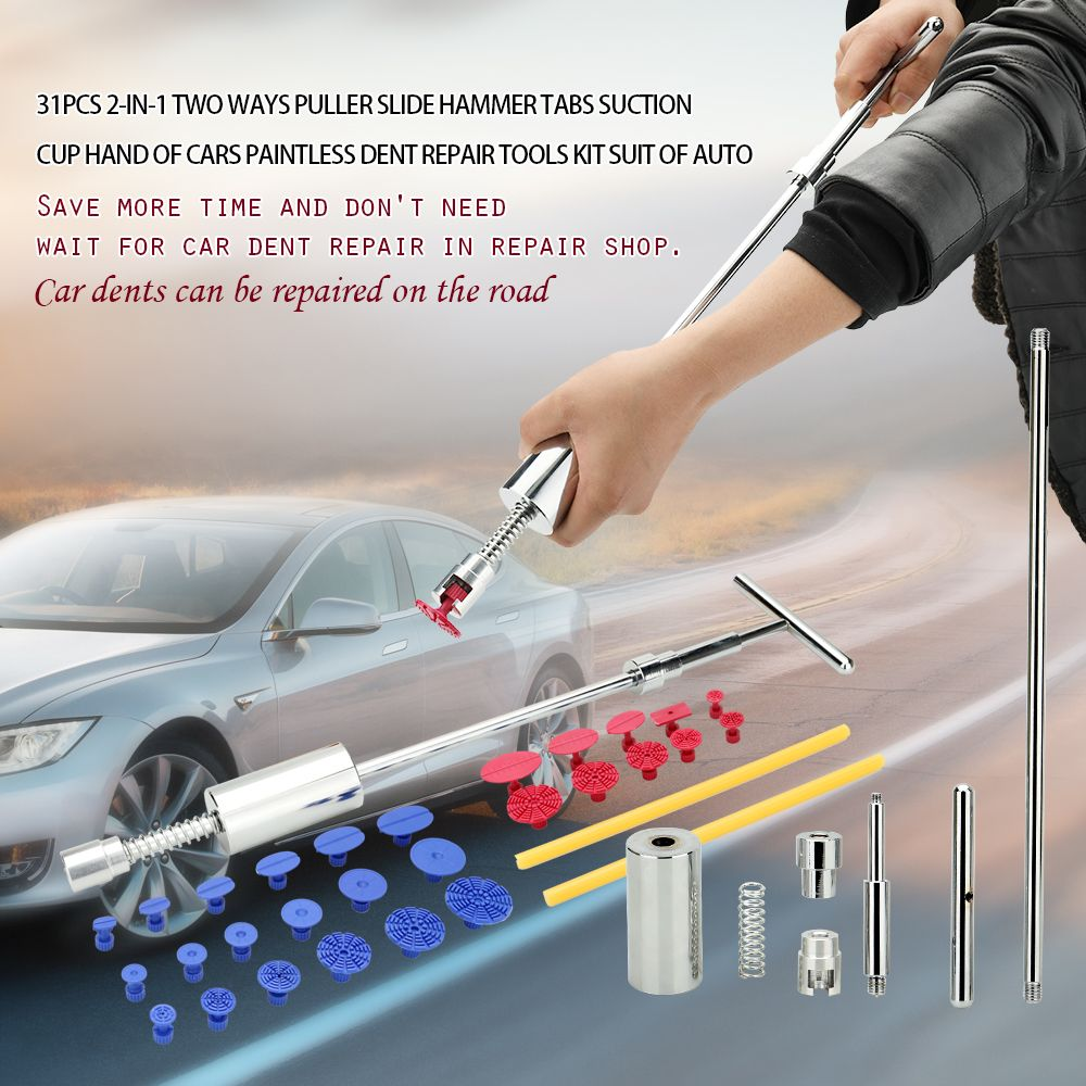 31pcs 2-in-1 Two Ways Puller Slide Hammer Tabs Suction Cup Hand of Cars Paintless Dent Repair Tools Kit Suit of Auto