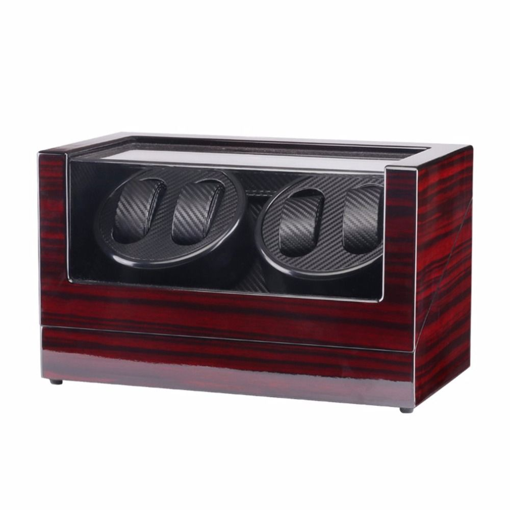 Use 110-240V AC/DC US ADAPTOR Wooden Glossy 4 Grids Watch Winder Box for Watches Shop Display Rotate Watch Case Automatic Casket
