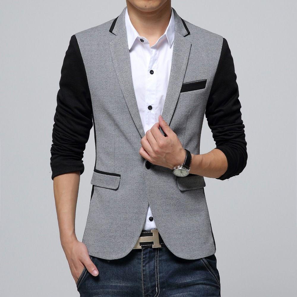 New Slim Fit décontracté Marque Coton Hommes veste blazer Seul Bouton Gris Hommes Costume Veste 2019 Automne manteau en patchwork Mâle Suite
