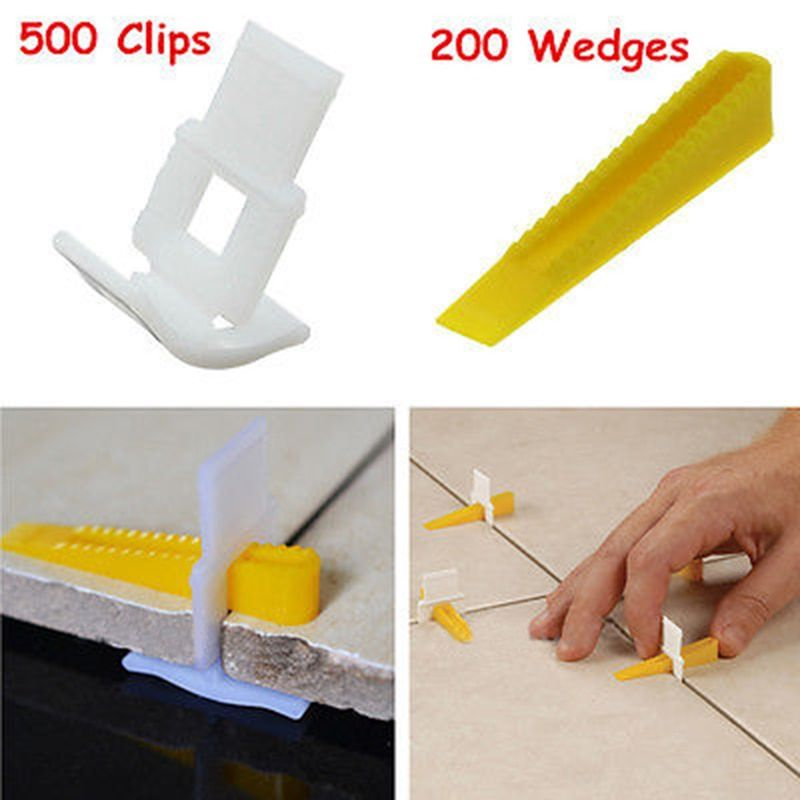 New 500 Clips With 200 Wedges Tile Leveler Spacers Lippage Tile Leveling System Tool For Construction Tools
