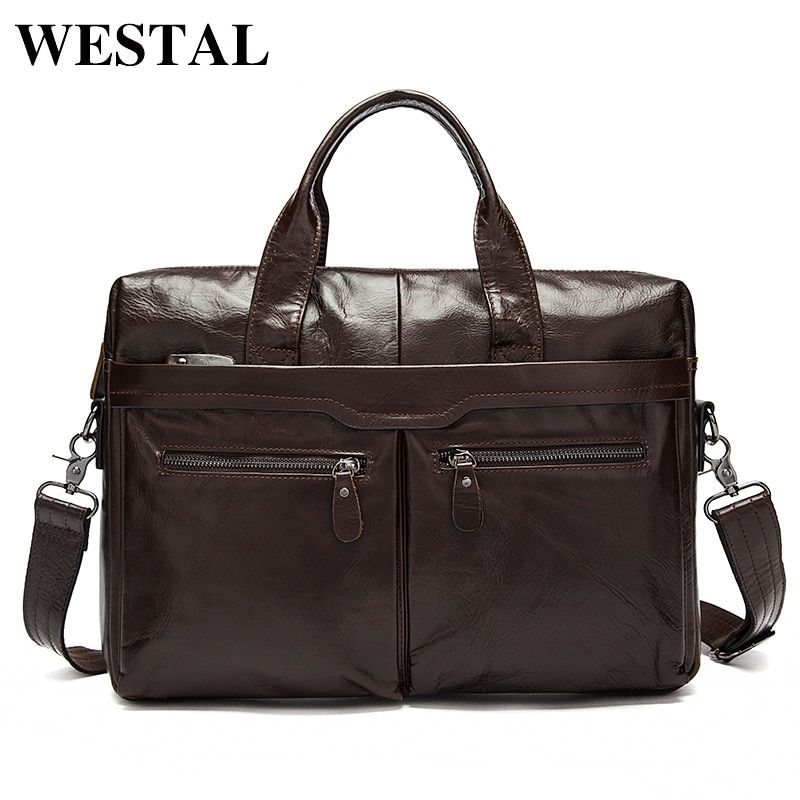 WESTAL Men's Bag Genuine Leather Crossbody Bags Male Messenger Bag Men Shoulder Bags 14'' Laptop Briefcases Man Totes handbags