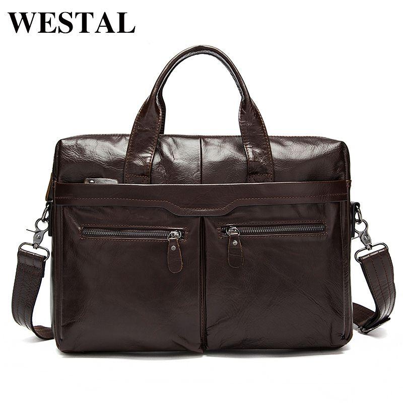 WESTAL sac pour hommes en cuir véritable Messenger sac hommes en cuir hommes épaule/bandoulière sacs pour hommes ordinateur portable sacs porte-documents fourre-tout