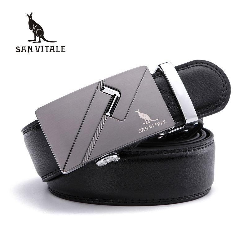SAN VITALE New Arrival Men Belts Automatic Buckle Brand Designer Real Leather Business Male Strap High Quality Luxury Cummerbund