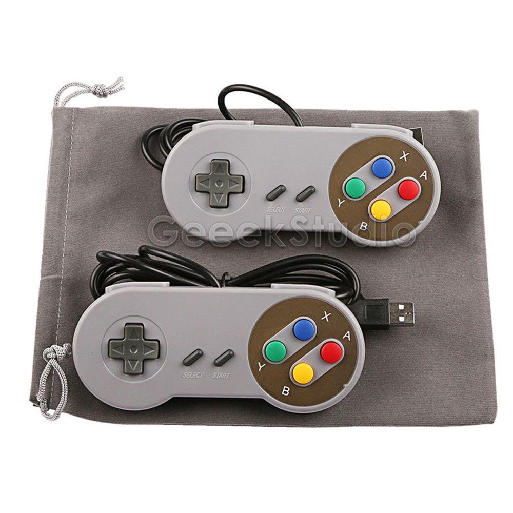 2 Teile/los! SNES USB Controller Gamepad Joypad Joystick mit Flanell Tasche für PC Raspberry Pi 3 Modell B Retropie