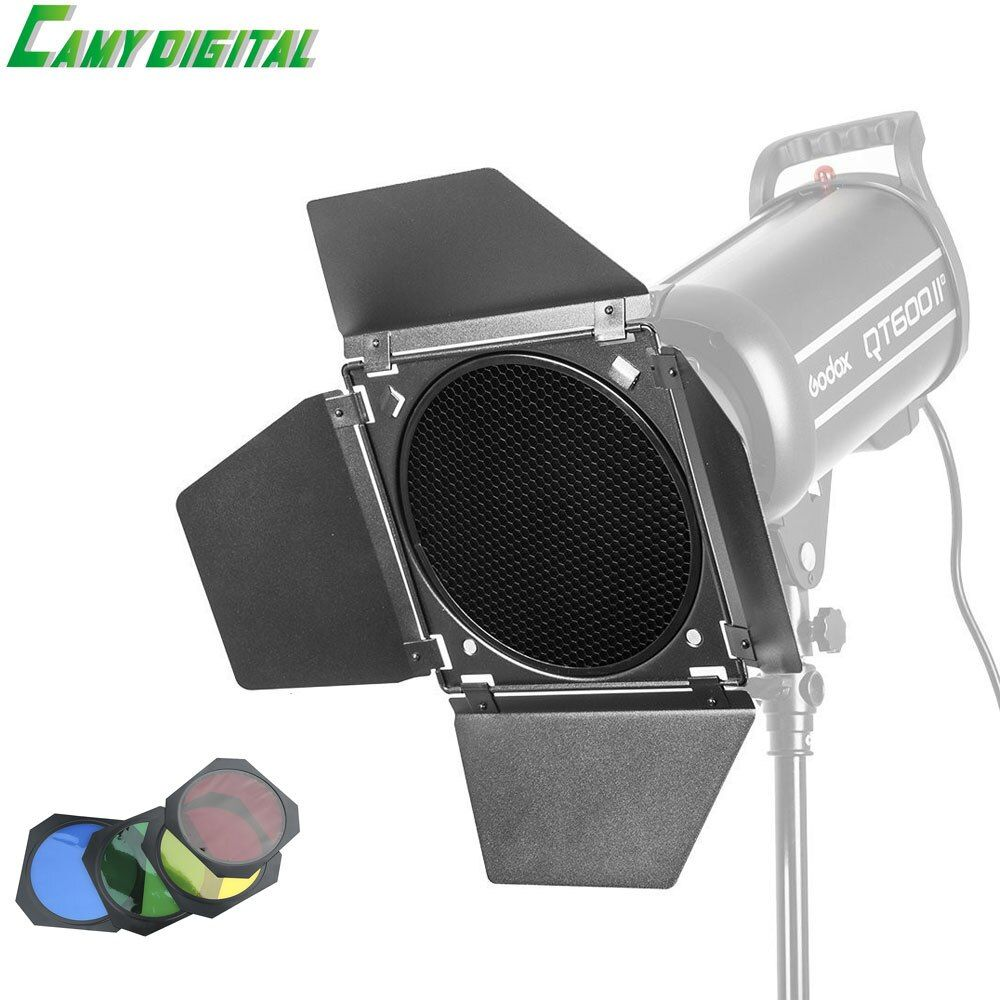 Godox BD-04 Barn Door+Honeycomb Grid + 4 Color Filter Red/Blue/Green/Yellow For Bowen Mount Standard Reflector Flash Accessories