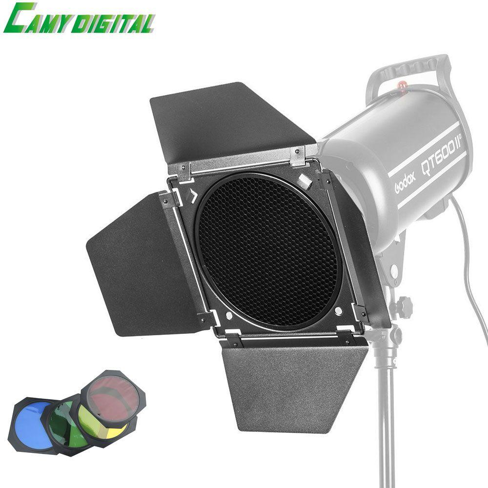 Godox bd-04 grange porte + honeycomb grid + 4 couleur filtre rouge/bleu/vert/jaune pour bowen montage standard réflecteur flash accessoires