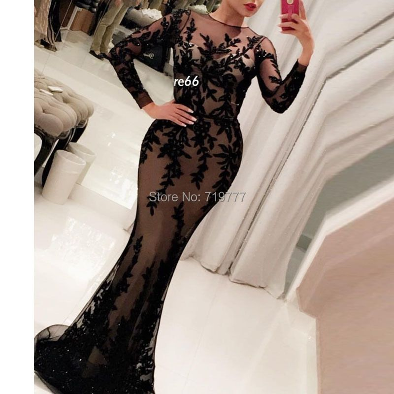 Black Applique Arabic Evening Dress 2017 New Arrival Meramid Long Prom Dresses Long Sleeve Illusion Neckline Hot Sexy Party Gown