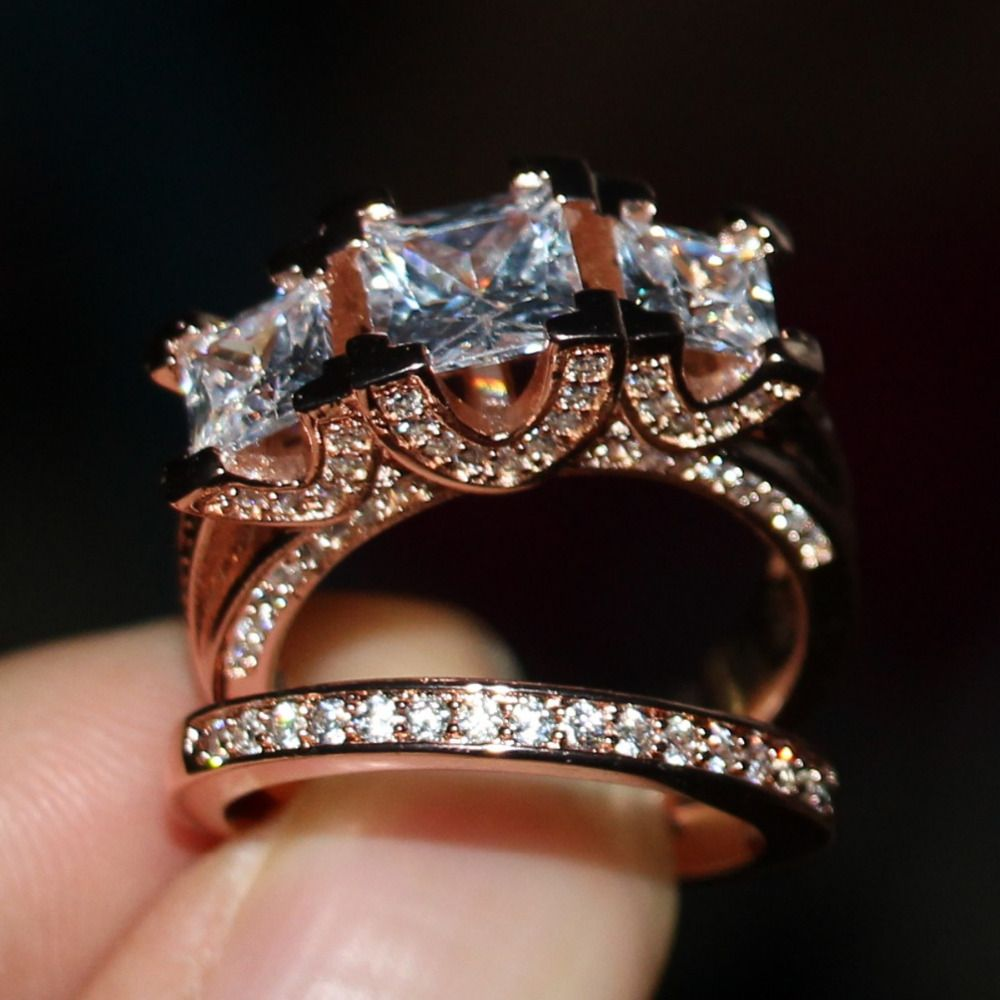 2016 New Hot Jewelry Three Stones Stunning 925 Sterling silver&Rose gold CZ stones Wedding Women Bridal Ring set Gift Size 5-11