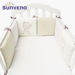 Sunveno cómoda cama de bebé parachoques de dibujos animados Parachoques para cuna algodón parachoques 6 unids/set