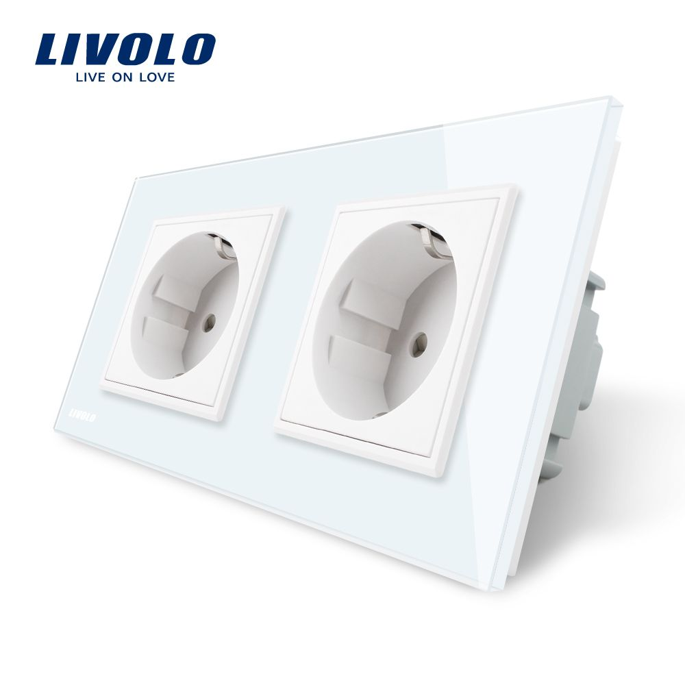 Livolo EU Standard Wall Power Socket, White Crystal <font><b>Glass</b></font> Panel, Manufacturer of 16A Wall Outlet, VL-C7C2EU-11