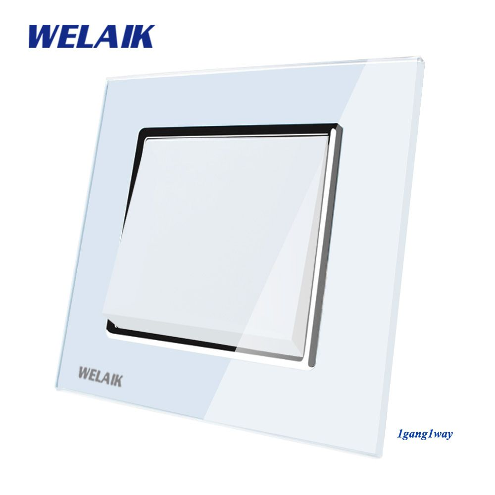 WELAIK Push Button Switch Fabricant de Mur Interrupteur Noir Panneau Verre Cristal Blanc AC 110-250 v 1 gang 1Way A1711W/B