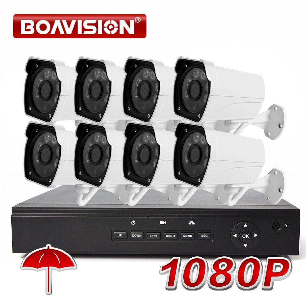 BOAVISION 8CH 1080 p POE NVR CCTV System Kit mit 8 stücke 1080 p 2MP IR 20 mt Kugel POE IP Kamera Im Freien Sicherheit System XMEYE P2P