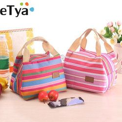 eTya  Insulated Lunch Bag Thermal Stripe Tote Bags Cooler Picnic Food Lunch box bag for Kids Women Girls Ladies Man Children
