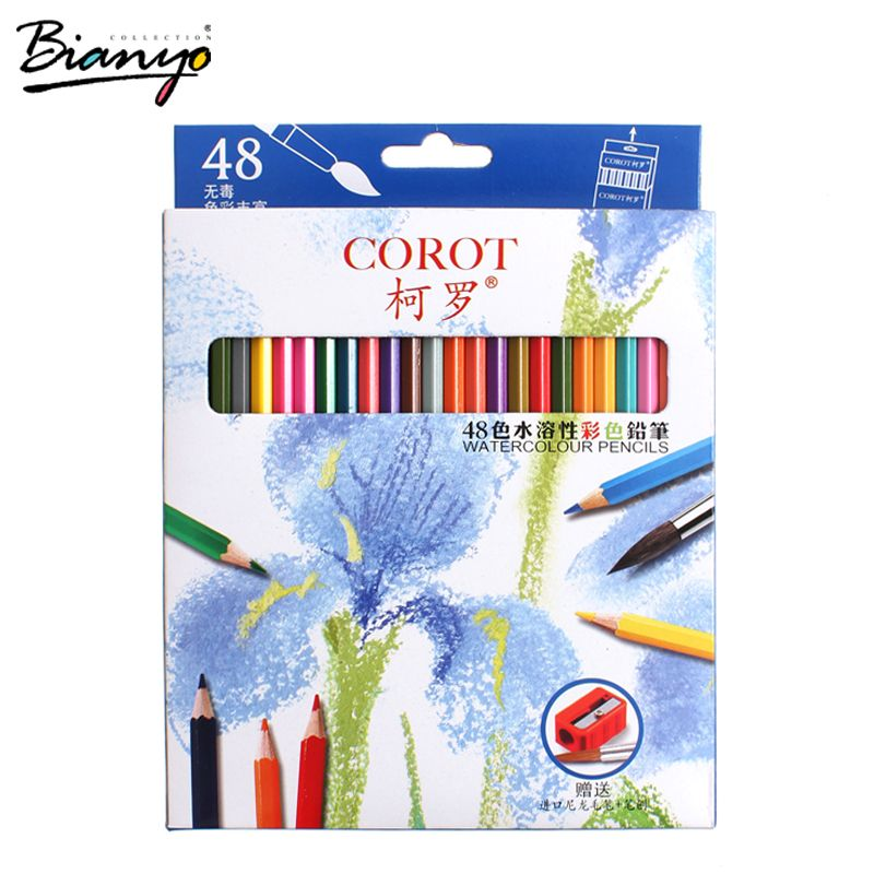 Bianyo 48Colors <font><b>Safe</b></font> Non-toxic Indonesia Lead Water Soluble Colored Pencil Watercolor Pencil Set For Write Drawing Art Supplies