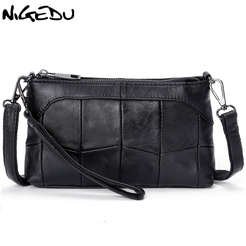 NIGEDU Genuine leather bags for women Crossbody Bags Soft Stitching sheepskin Ladies messenger bags Clutches small clutch purses