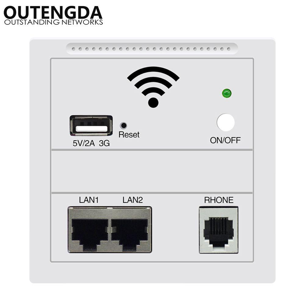 OUTENGDA dans le mur AP pour hôtel intelligent intégré Point d'accès Wi-Fi sans fil POE pris en charge routeur sans fil répéteur blanc/Champagne