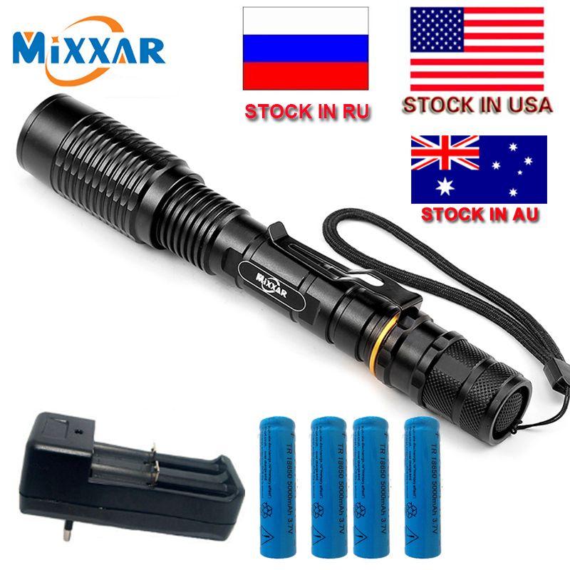 ZK20 mixxar V5 T6 8000Lumens LED Flashlight 5-Modes Adjustable Torch light suitable two 5000mAh batteries Telescopic Lamp