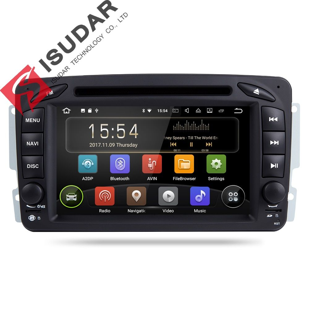 Isudar Car Multimedia Player Android 7.1.1 GPS 2 Din DVD Automotivo For Mercedes/Benz/W209/W203/M/ML/W163/Viano/W639/Vito Radio