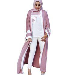 Dubaï Kaftan Musulman Cardigan Abaya Avec Hijab pour les Femmes Islamique Maxi Robe Rayée À Manches Longues Robes Turquie Vêtements Kimono Thobe