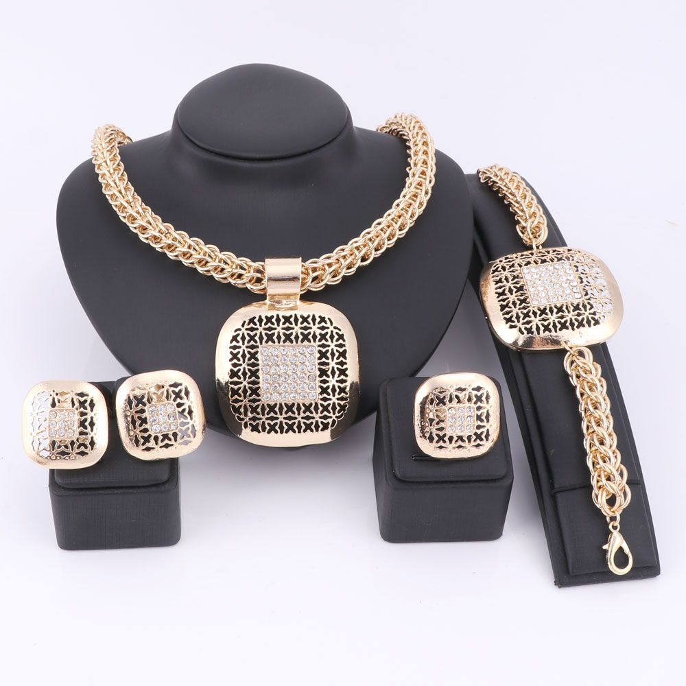 Fashion African Beads Jewelry Set Exquisite Dubai Gold Color Square Crystal Jewelry Set Nigerian Wedding Bridal Bijoux