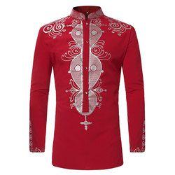 Mens Hipster African Print Dashiki Dress Shirt 2018 Brand New Tribal Ethnic Shirt Men Long Sleeve Shirts Africa Clothing Camisa