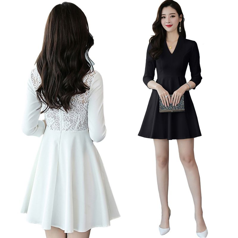 Hollow Out White Lace Dress Women New Spring Lace Mini Boho Dress 3/4 Sleeve OL Sweet Slim A Line Club Party Black Skater Dress