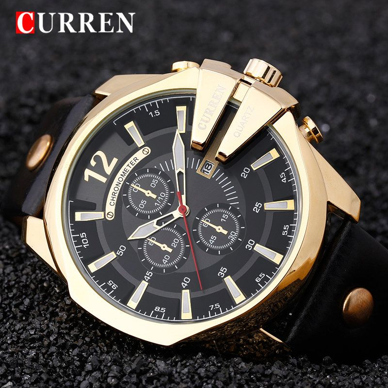 Relogio Masculino CURREN <font><b>Golden</b></font> Men Watches Top Luxury Popular Brand Watch Man Quartz Gold Watches Clock Men Wrist Watch 8176