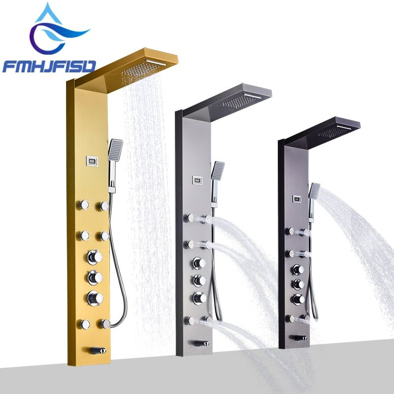 Gold Plate Thermostatic Waterfall Shower Column Nickel Bathroom Shower Faucet Black Shower Panel with Massage Jets Tub Spout