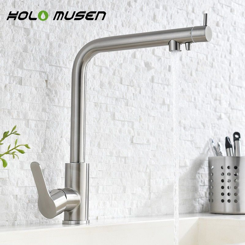 2 in 1 Water Filter Tap Stainless Steel Kitchen Mixer Lead Free Direct Drinking Brushed Nickel Water Filter Kitchen Faucet
