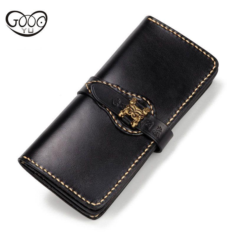 Original neue handgemachte brieftasche pump die erste schicht rindleder retro Jiugong brieftasche langen persönlichkeit große kapazität bag
