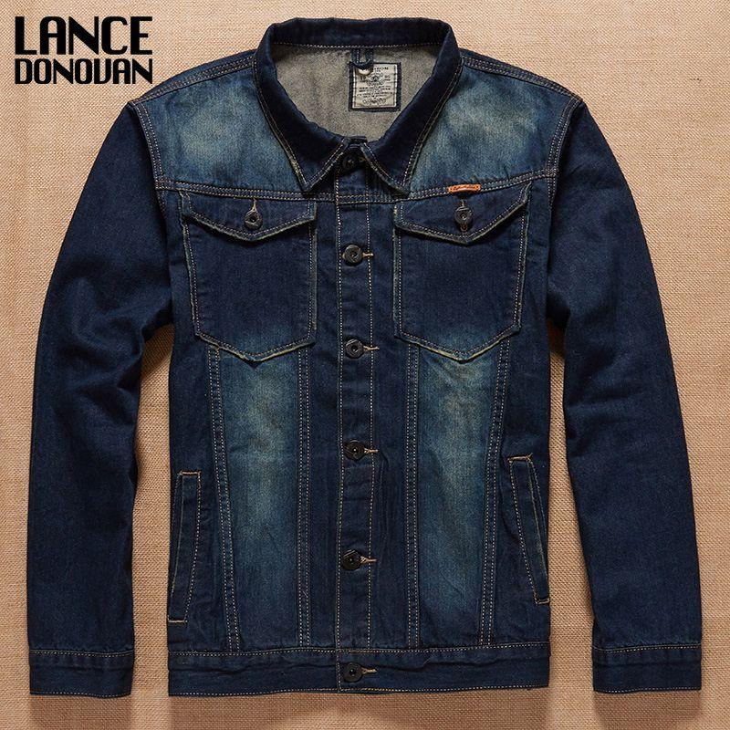 Plus size L - 5XL 6XL 7XL biggest Chest 145cm Blue Denim Jeans Jacket New 2017 Spring Autumn Winter Clothing