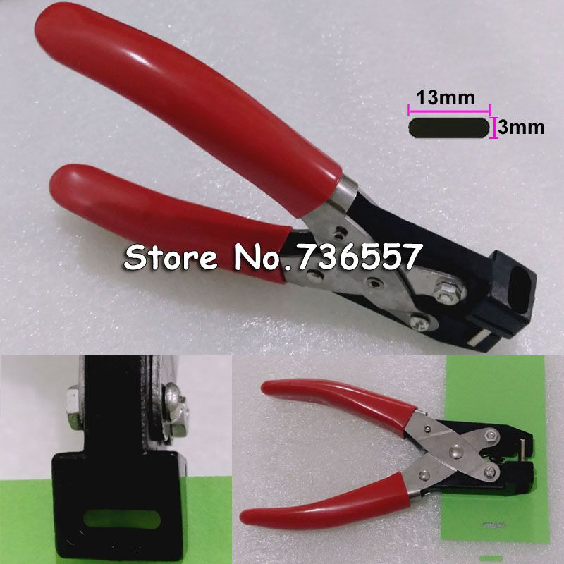 PVC Card Hand Slot Puncher Hole Punch PVC Tag Office 3*13mm flat hole