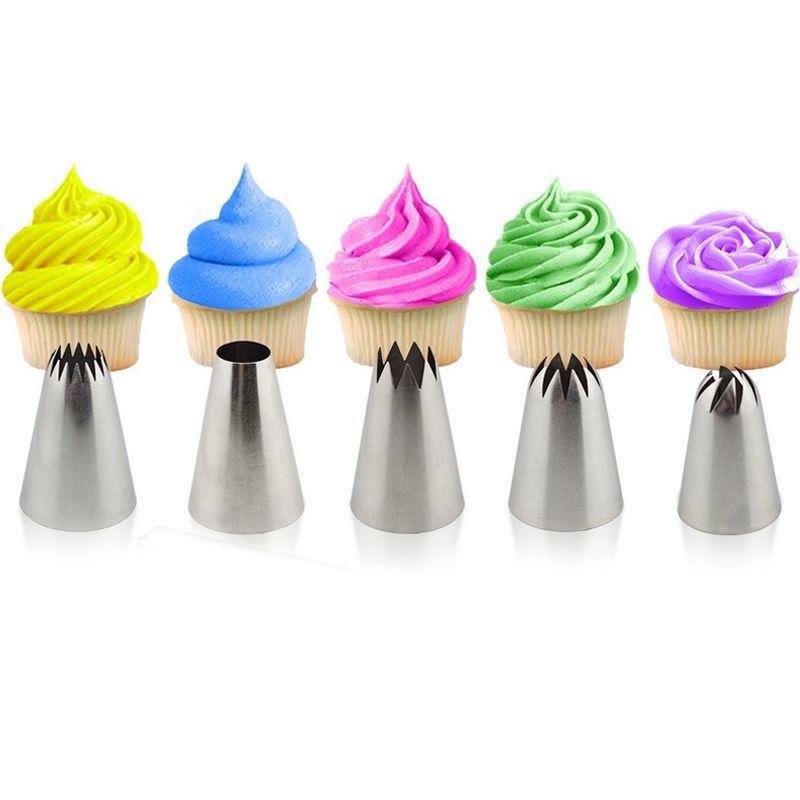 5 pièces grande pâtisserie conseils gâteau décoration outils ensemble crème buse glaçage tuyauterie ustensiles de cuisson Sugarcraft