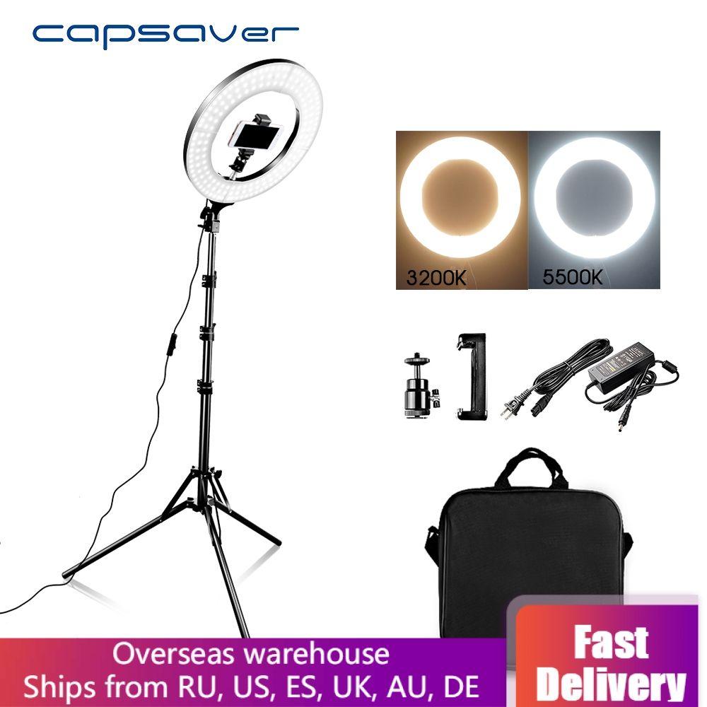 Capsaver 14 LED anneau lumière anneau lampes lumière de maquillage avec support trépied bi-couleur 3200 K-5500 K lampe annulaire pour vidéo YouTube Photo