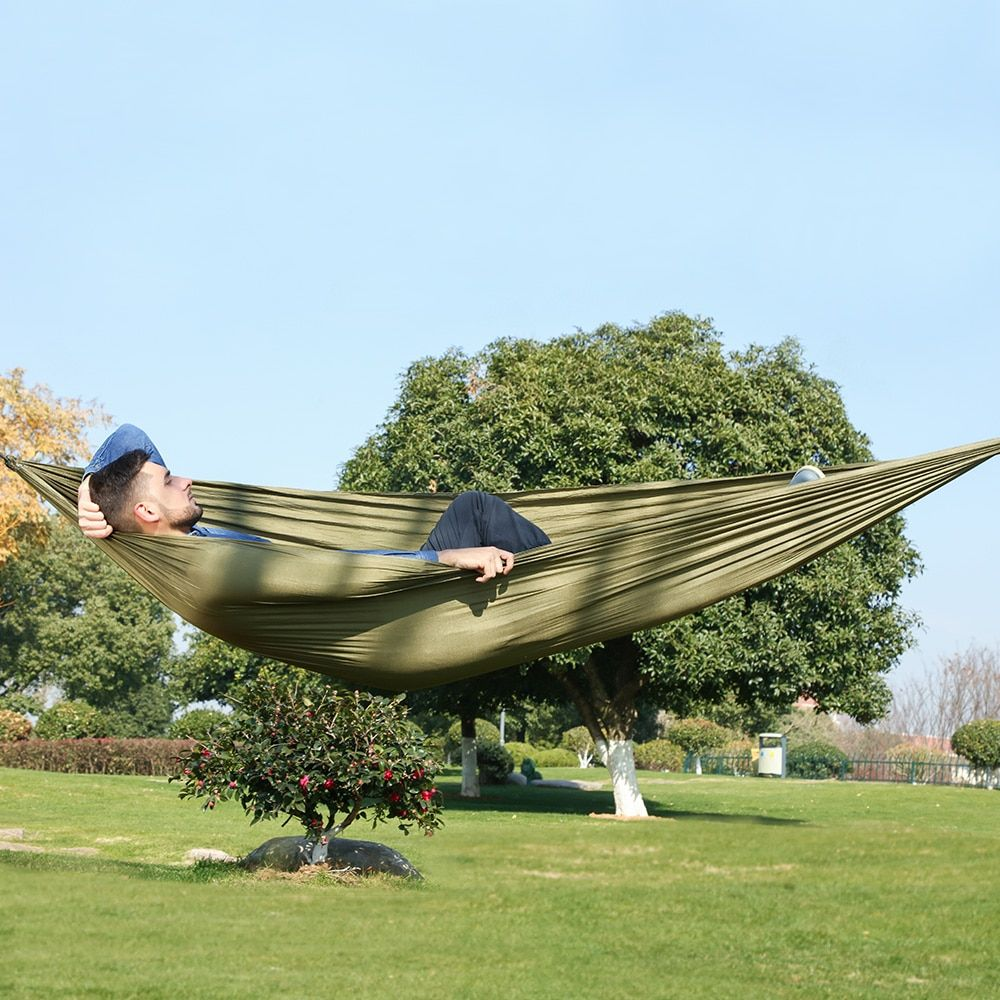 Hamac de Camping multifonction en tissu de Nylon Portable Double Hamac extérieur Hamak de jardin Hamaca avec mousqueton et cordes