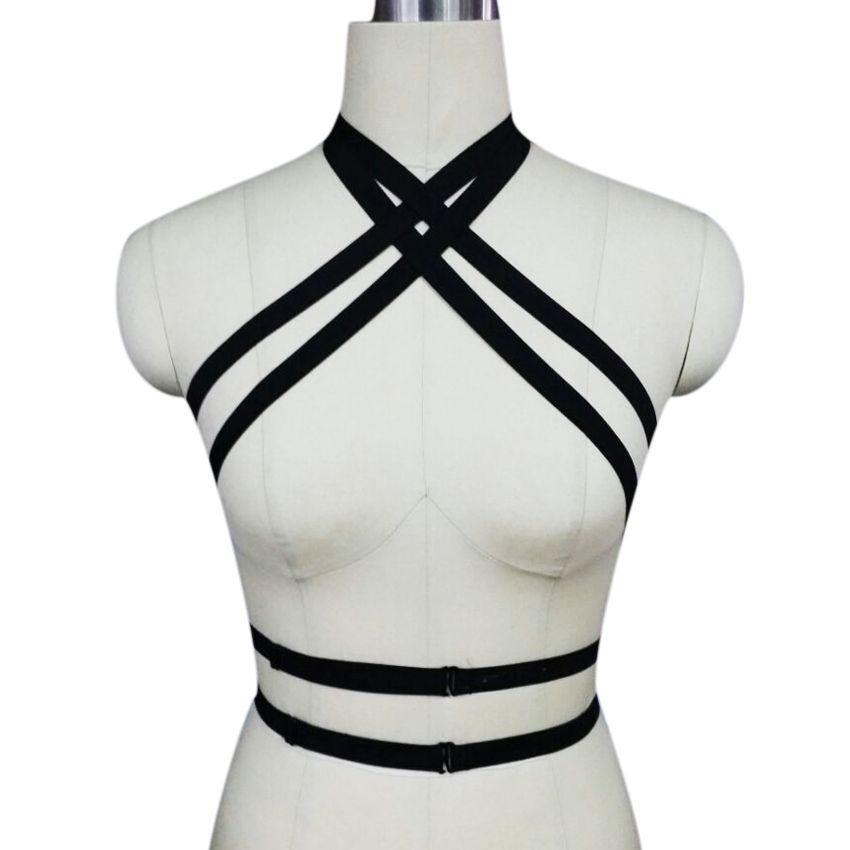 Women New Black Harness Gothic Cage Bra Harajuku Body Harness Valentine's Day gift Harness Bra bondage harness
