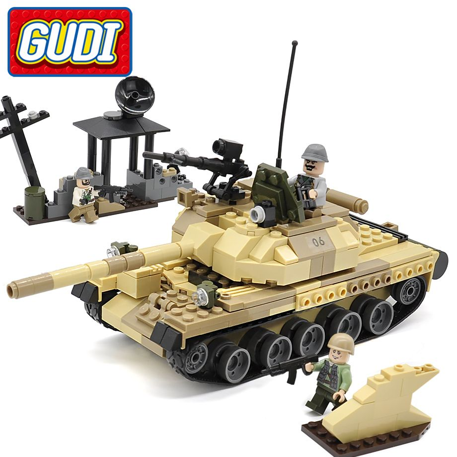 GUDI Militaire Guerre Arme Armés T-62 Réservoir Bloc 372 pcs Briques Blocs Ensembles Modèles Éducatifs Jouets Pour Enfants