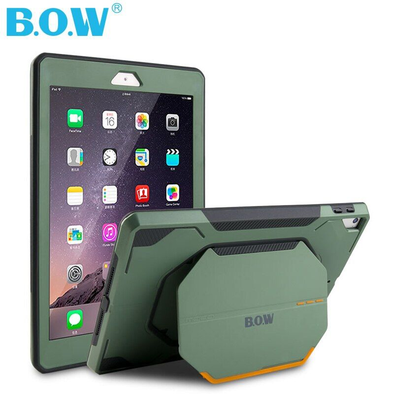 B.O.W Hard Case for NEW IPAD 9.7 Inch Shockproof Heavy Duty Military Rubber Cover protection from scratches, bumps, dirt, drops