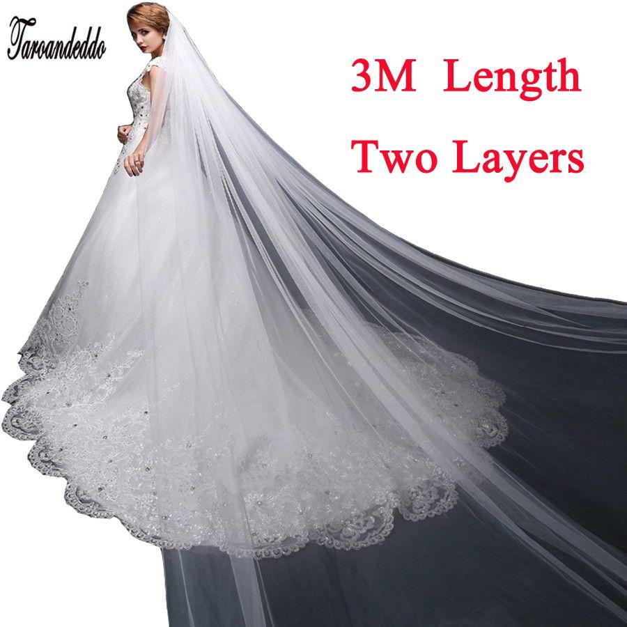 White/Ivory 3M White/Ivory Wedding Veil Two-layer Long Bridal Veil Head Veil Wedding Accessories Fashion