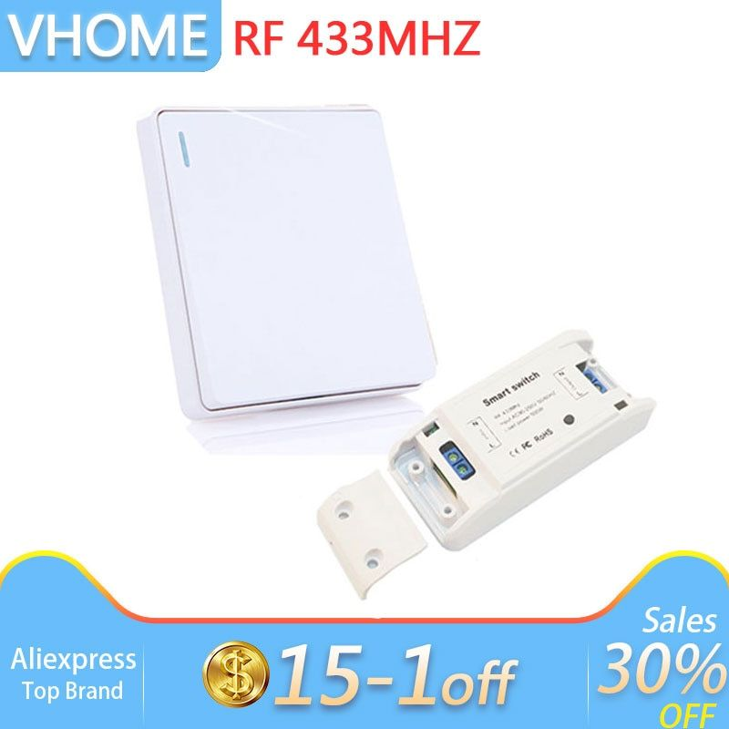 Wireless button Remote Control RF 433 Mhz 220V Switch Learning Code Receiver Transmitter Hall Bedroom Ceiling Lights For Vhome