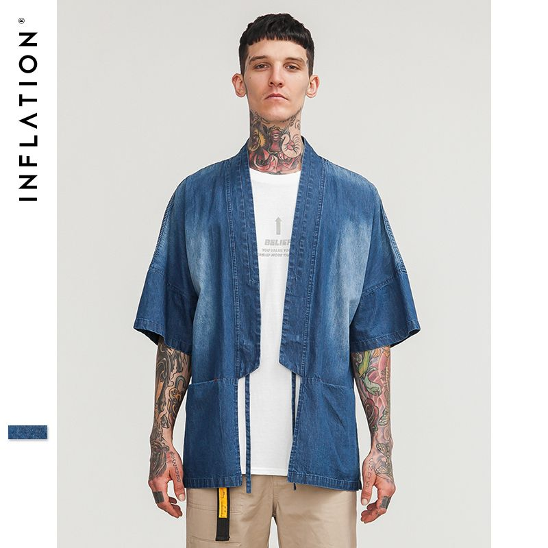 INFLATION Traditional Chinese Han Dynasty Costume Short Sleeve Shirt Loose Clothes Male High Street Hip Hop Jean Shirt 8355S