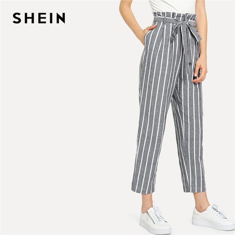 SHEIN Grey Vacation Boho Bohemian Beach <font><b>Self</b></font> Belted Striped Tapered High Waist Pants Summer Women Weekend Casual Carrot Trousers